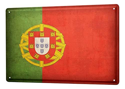 LEotiE SINCE 2004 Blechschild Dekoschild Küche Garage Welt Reise Portugal Flagge Wand Deko Schild 20X30 cm