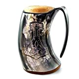 AnNafi Genuine Viking Drinking Horn Natural Handcrafted Horn Mugs for Beer Wine Mead Drinks  Game Of Thrones Collection Tankard (Thor's Hammer, 1)  Decorative Handmade Mugs 
