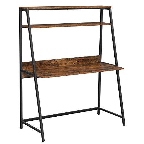 VASAGLE Computertisch, Schreibtisch mit Ablagen, fürsArbeitszimmer,Büro,Bücherregal,Industrie-Design,vintagebraun-schwarz LWD069B01