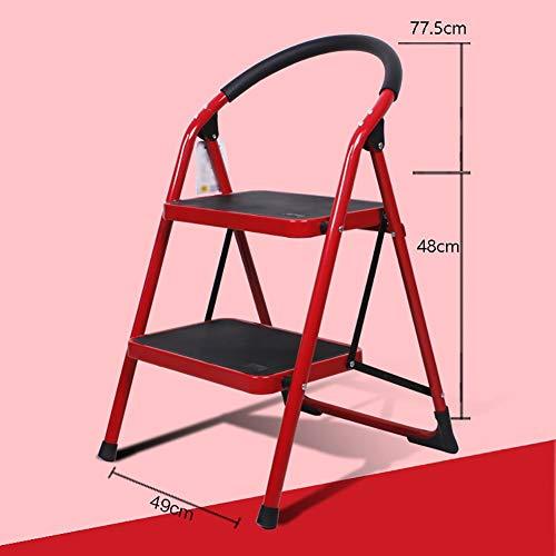 QARYYQ Trappenkast Twee verdiepingen opvouwbare kruk Metalen beugel Geschikt voor keuken Multifunctionele Huishoudelijke opvouwbare Ladder Stap kruk
