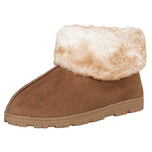 Jessica Simpson Women's and -Girls Microsuede Super Soft Bootie Slippers with Indoor Outdoor Sole, Cinnamon, Medium