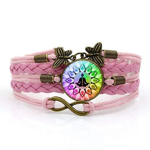 QZH Pulseras para hombre, cuerda rosada, hermoso arte colorido de yoga, pulsera de piedras preciosas del tiempo, varias capas tejidas a mano, joyería de estilo europeo y americano