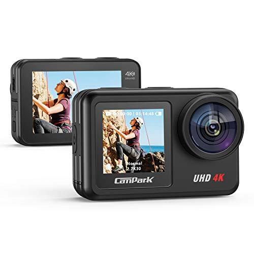 Campark Action Cam 2 Bildschirme mit 4K 20MP WiFi Action Kamera V40, Wasserdicht zu 10M Unterwasserkamera, Helmkamera mit Touchscreen, EIS Anti-Shake Sportkamera, 2x1350mAh Batterien
