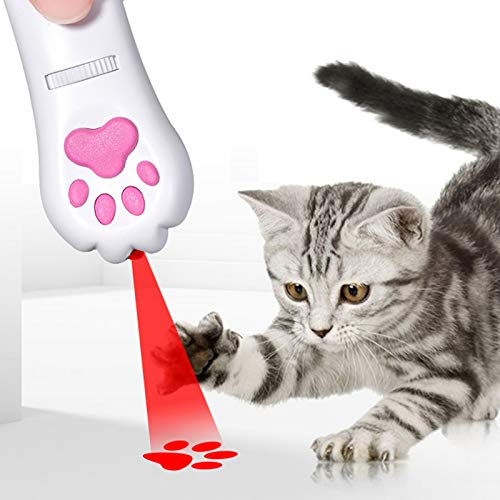 LECHONG Cat Projector Toy Interactive Cat Teaser Toys for Indoor Cats 5 Patterns Dog Cat Chaser Toy with UV Black Light Rechargeable and Portable red