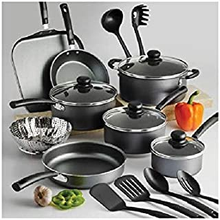 Tramontina PrimaWare 18-Piece Nonstick Cookware Set | Riveted, Stay-Cool Handles (18-Piece, Gray)