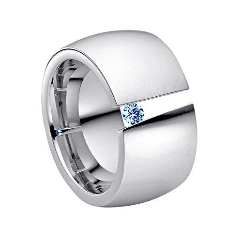 Heideman Ring Damen Aditus aus Edelstahl Silber farbend poliert Damenring für Frauen mit Swarovski Stein Zirkonia blau im Brillant Schliff 3mm