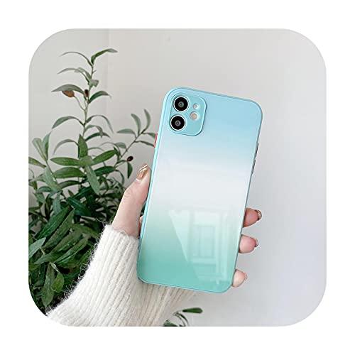 Lujo líquido templado vidrio teléfono caso para iPhone 12 11 Pro Max Mini X XR XS Max 7 8 Plus SE 2 gradiente silicona Colorul cubierta-LB-para iPhone 12Pro Max