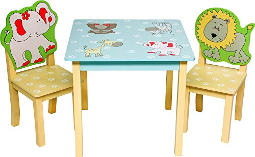 ib style® Safari ensemble table et chaises | meuble d'enfants |3pcs: 1 table + 2 chaises