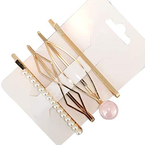 Sanwood 4pcs pince à cheveux Barrette Faux perle géométrique côté épingle à cheveux Bang pour femmes filles cadeau 9#