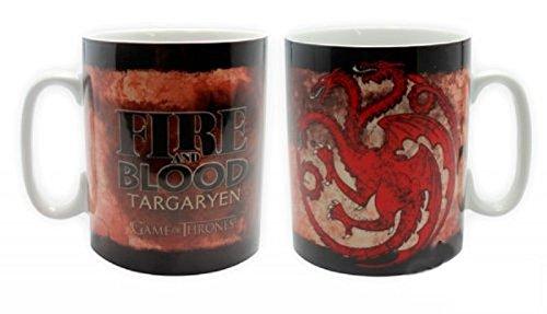 Game of Thrones - Taza gigante de 460 ml – Targaryen – Fire & Blood – en caja de blíster.
