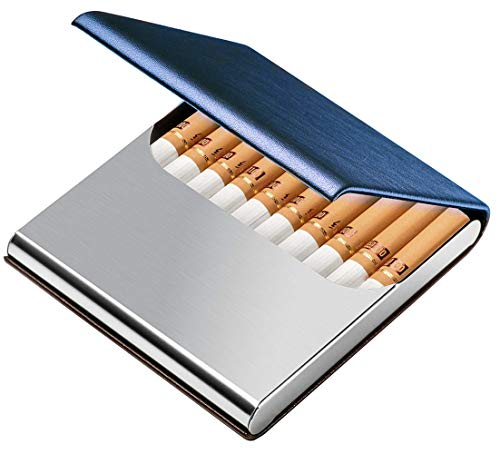 タバコケース キングサイズ タバコ10本収納 レザー シガレットケース PU革&ステンレス オシャレ ビジネス Tenfel タバコボックス 男女兼用 [並行輸入品]