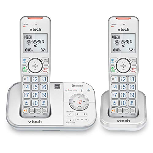 VTech VS112-27 DECT 6.0 Bluetooth 2 Handset Cordless Phone for Home with Answering Machine, Call Blocking, Caller ID, Intercom and Connect to Cell (Silver & White) (Renewed)