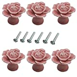 6 Piezas Flor Rosa Forma 40mm Cerámica Pullhandle, Armario