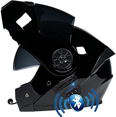 Motorbike Helmet Casco integral de motocicleta Casco de motocicleta Bluetooth, ECE / DOT Four Seasons Intercomunicador integrado Cascos modulares impermeables con visores dobles YSDKJ73(Color:A;Size:S