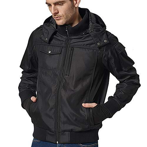 BOMBAX 10 Pockets Men Travel Jacket Flight Bomber Windbreaker Hoodie Coat Pillow (Black, XL)