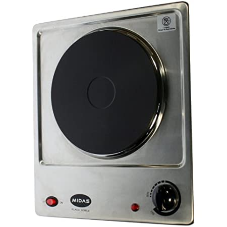 Hornillo eléctrico 1 placa 1500 W Acero Inoxidable con termostato MIDAS MD-PCD1