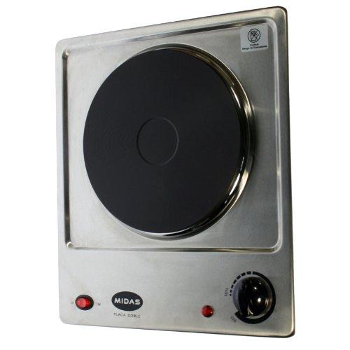 Hornillo eléctrico 1 placa 1500 W Acero Inoxidable con termostato ...