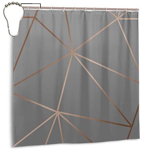Zara Duschvorhang, schimmernd, metallisch, anthrazit, Kupfer, Duschvorhang für Badezimmer, wasserdicht, Polyester mit Metallhaken, 183 x 183 cm