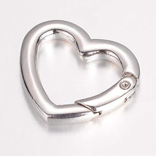 5 Schlüsselanhänger Herz Schlüsselringe Karabinerhaken Herzkarabiner DIY basteln