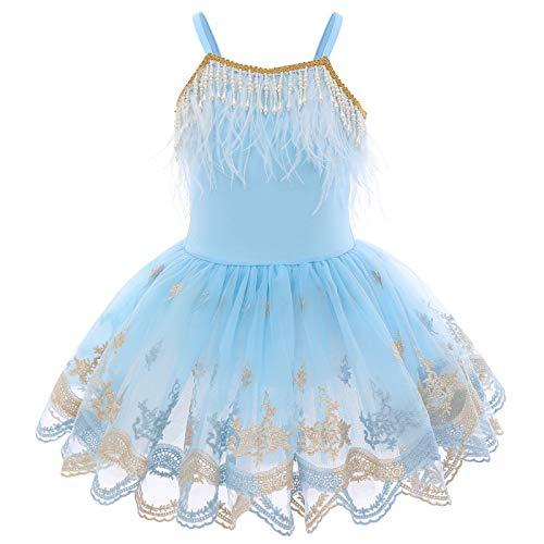 Vestido Maillot de Ballet para Nia Camisola Cisne Pluma Perla Borla Bordada Tutu Vestido Princesa Gimnasia Leotardo Patinaje Danza Actuacin Bailarina Disfraz Cumpleaos Costume Azul 9-10 aos