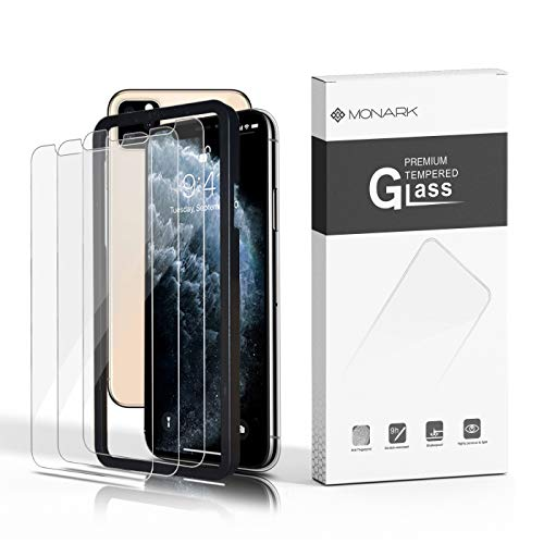 New Self-Installing Design ~ iPhone 11 Pro Max Screen Protector (3 Pack with Frame) / iPhone XS Max Screen Protector, Tempered Glass Film for Apple iPhone XS Max & iPhone 11 Pro Max, 3-Pack with Frame