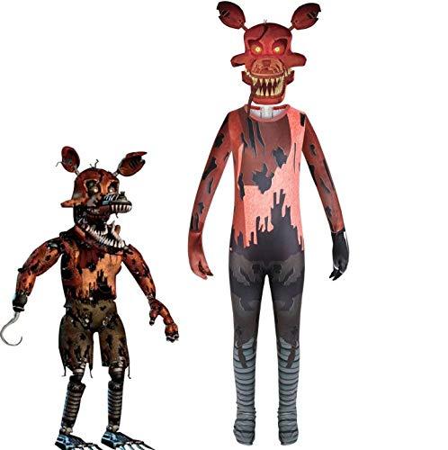 Disfraz de FNAF Five Nights Foxy Cosplay Five Nightmare Scary Creepy Foxy Mono para niños Fiesta de Halloween Juego de Roles