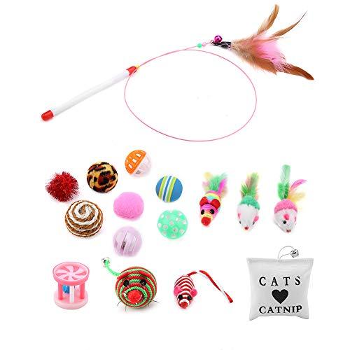 Rehomy Juego de juguetes para gatos y gatos, 16 unidades de bolas de ratón, para gatos y cachorros, juego de combinación de regalo