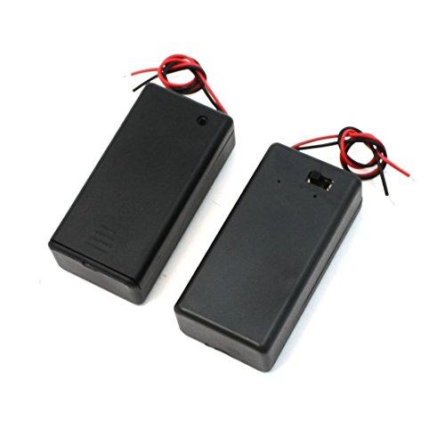 SODIAL(R) Paire 9V Boite de Stockage Boite de batterie ON/OFF Switch avec Casquette 2 Pcs