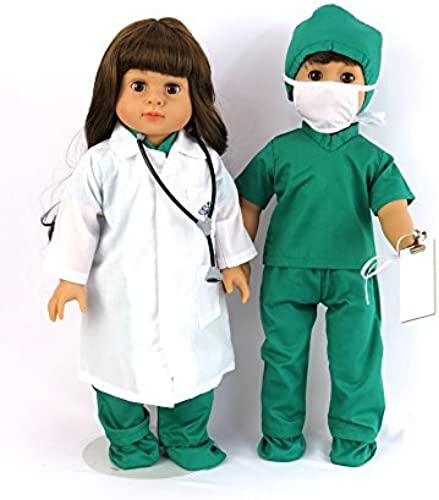Doctor or Nurse 7 pc Set   18 Inch Doll Clothes   Complete with Weiß Doll Lab Coat, Face Mask, Medical Grün schuhe Covers, Cap, Stethoscope, and Scrubs by American Fashion World