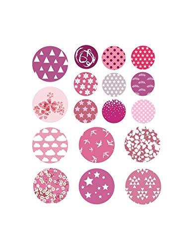 Sticker mural : Ronds roses liberty - Format : 18 ronds de 4.5 cm et 16 de 7.5 cm