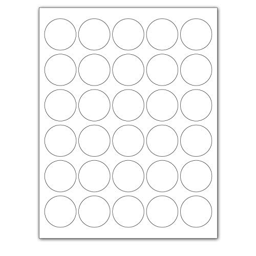 """Laser / Ink Jet White Labels (1.5"""" Round for Printing with NO Bleed - 30 Per Page   750 Labels)"""