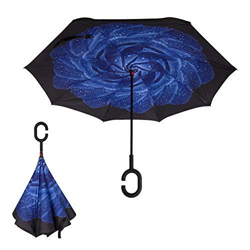 Globalqi Doppellagiger, Invertierter Regenschirm Für Frauen, Winddichter, Gerader Regenschirm, Anti-Splash Wasserdichter, Gerader Regenschirm Mit C-förmigem Griff by