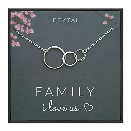 Product Image of the EFYTAL Gifts for Wife, 925 Sterling Silver 3 Circle Necklace for Mom, Family of...