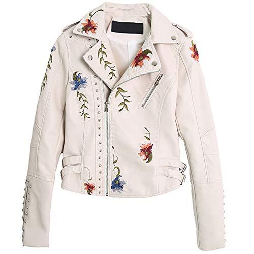 LLYAND Damen Blumen Lederjacke,Bestickte Niete PU Lederjacke,Schmal geschnittene Biker Short Jacket Outwear mit Reißverschluss für Frühling Herbst und Winter (Beige, XL)