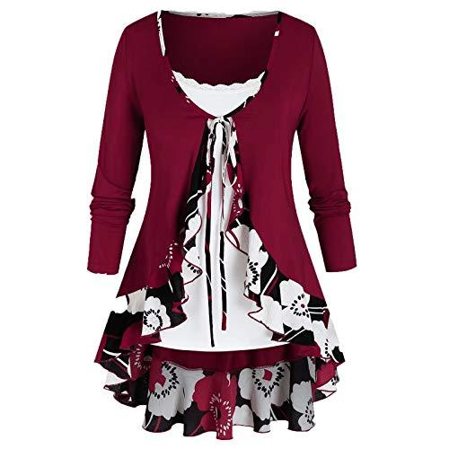 VEMOW Sommer Herbst Elegant Damen Oberteil Langarm O Neck Printed Flared Floral Beiläufig Täglich Geschäft Trainieren Tops Tunika T-Shirt Bluse Pulli(A2-Rot, 46 DE / 2XL CN)