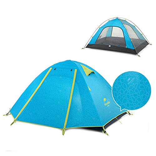 Naturehike Lightweight Backpacking Tent 1/2/3/4 Person 3 Season Ultralight Waterproof Anti-UV Camping Tent, Easy Setup, Large Size for Family, Outdoor, Hiking, Beach, Mountaineering - Blue