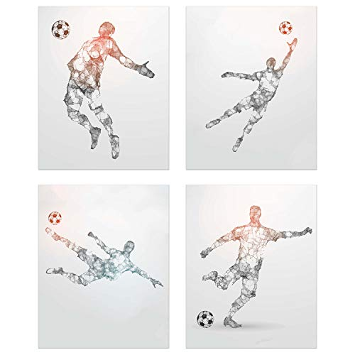 Soccer Geometric Wall Art Prints - Particle Silhouette – Set of 4 (8x10) Poster Photos - Man Cave- Bedroom Decor