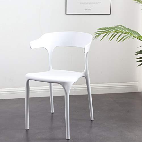 GW Silla Outdoor con Estructura De Polipropileno Silla De Jardín Apilable Silla De Terraza Resistente & Moderna 48 * 46 * 77cm,Blanco