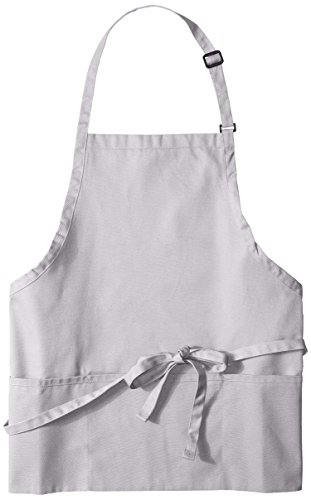 Uncommon Threads Unisex Adjustable 3 Pocket Restaurant Bib Apron, Silver, One Size