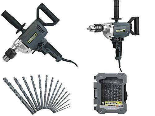 Performax 7-Amp Corded 5/8' Spade Handle Drill & Black Oxide Twist Drill Bit Set - 15 Piece