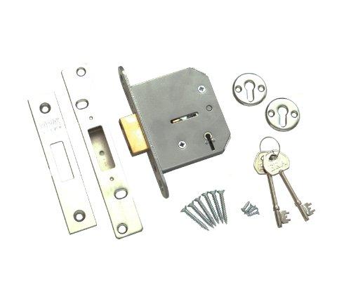 ERA BS 301-61 Sicherheitsschloss, Chubbschloss, 5 Sperrzuhaltungen, 76mm, Chrom-Optik
