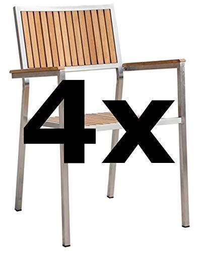 ASS 4Stk Designer Gartenstuhl mit Armlehne Gartensessel Stapelstuhl Stapelsessel Sessel Kuba-Teak Edelstahl Teak A-Grade stapelbar sehr robust Gastroqualität