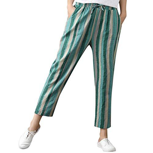WOZOW Damen Hosen Harem Loose Long Vertical Striped Streifen Gestreift Bettwäsche Baumwolle High Waist Kordelzug Zug Tie Strappy Trousers (XL,Grün)