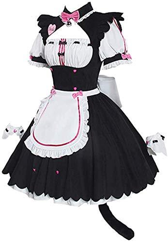W.Z.H.H.H Traje de Criada Nekopara Anime Cosplay Chocolla Maid Uniformes Vestidos para Disfraces de Fiesta de Halloween (Color : Rosado, Size : XXXL)