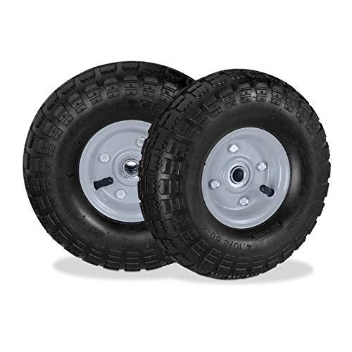 Relaxdays Sackkarrenrad Juego de 2 Ruedas para Carretilla 4.1/3.5-4, neumáticos de Repuesto, Eje de 16 mm, 136 kg, llanta de Acero, 260 x 85 mm, Color Negro y Gris