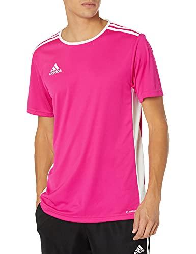 adidas Men's Entrada 18 AEROREADY Primegreen Regular Fit Soccer Short Sleeve Jersey, Shock Pink/White, Medium