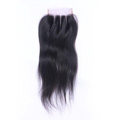 Trois extensions de cheveux humains naturels noirs et 100 % vierges avec dentelle suisse de 10 x 10 cm - Cheveux soyeux et raides