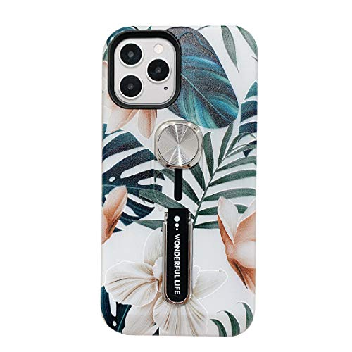 Flowers Case for iPhone 12/12 Pro Women,YTanazing Finger Grip Flower Design Rugged Shockproof Slim Soft TPU + Matte PC Dual Layer Ring Strap Cover for iPhone 12/12 Pro 5G - 6.1' 2020 (Palm Leaf)