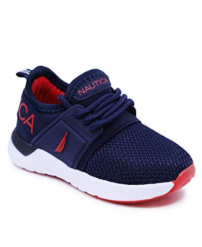 Nautica Tenis de correr para niños y niños, transpirables, con cordones, para correr (bebé/niño pequeño), Azul marino blanco rojo, 17 MX Niño pequeño