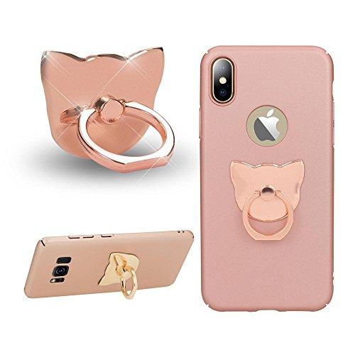 NALIA Fingerhalterung Ring-Halter Katze, Verstellbarer Fingergriff für Einhandbedienung Smartphone Universal-Ständer Multi-Winkel, kompatibel mit iPhone, kompatibel mit Samsung, etc, Farbe:Rose Gold